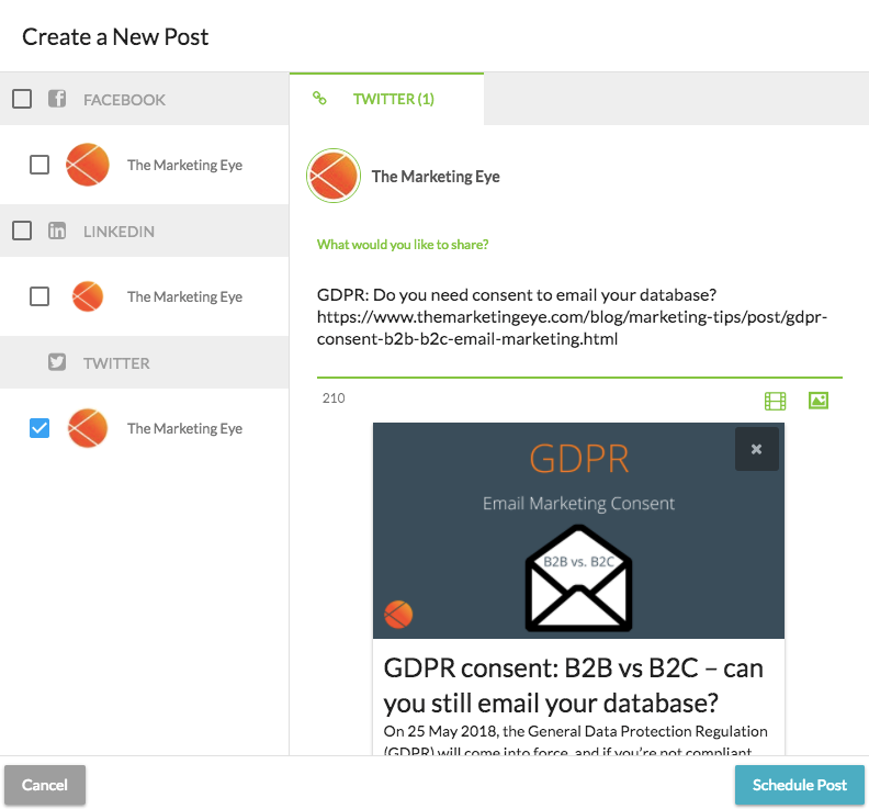 Creating a social post on SharpSpring