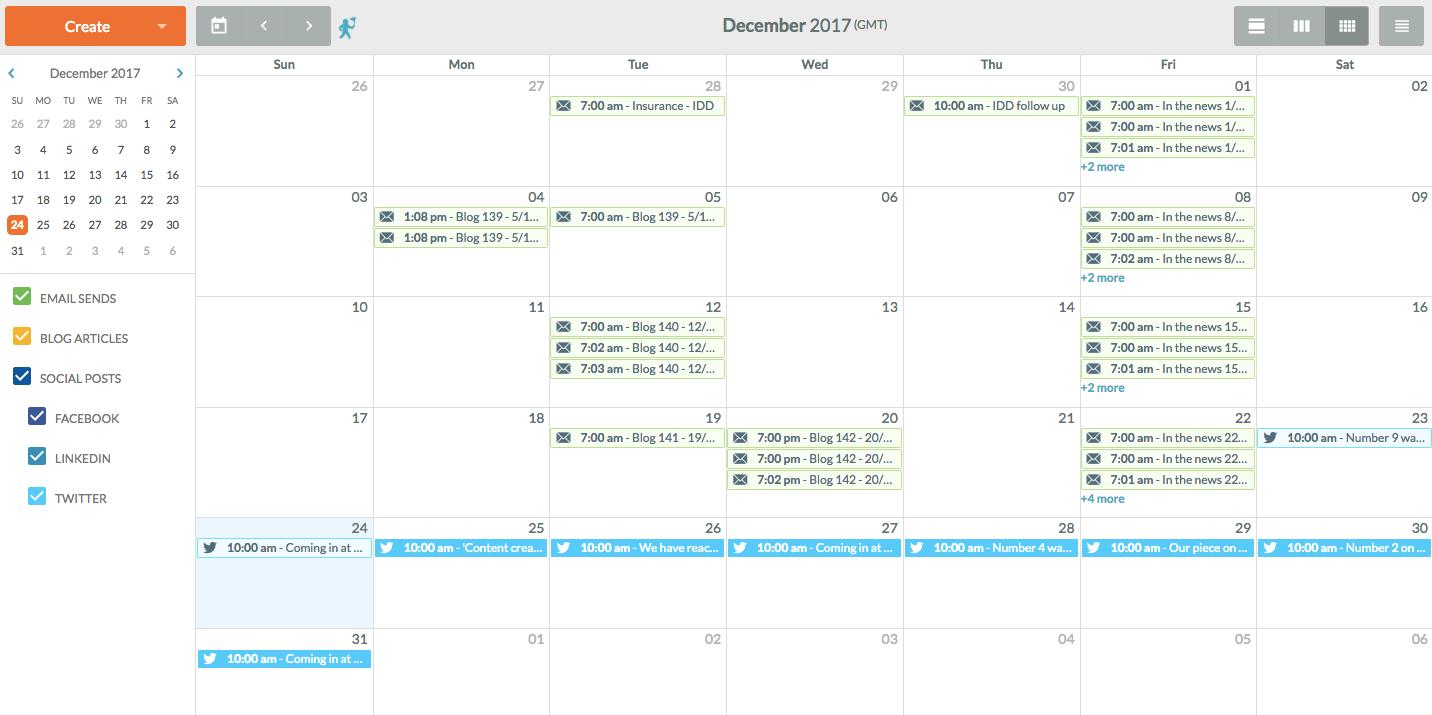 Content calendar on SharpSpring