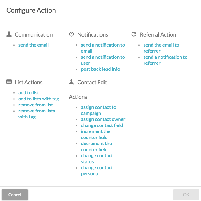 Configure actions in SharpSpring