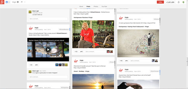 Virgin Google+ Page