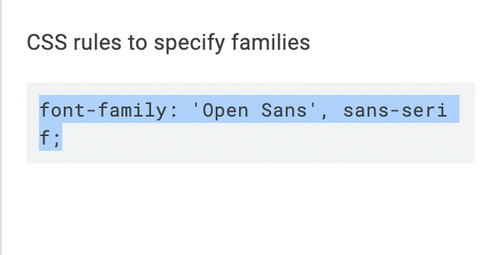 css rules to specify families in Google Fonts.png